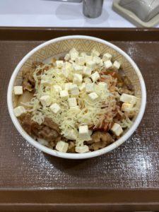 クリームチーズアラビアータ牛丼