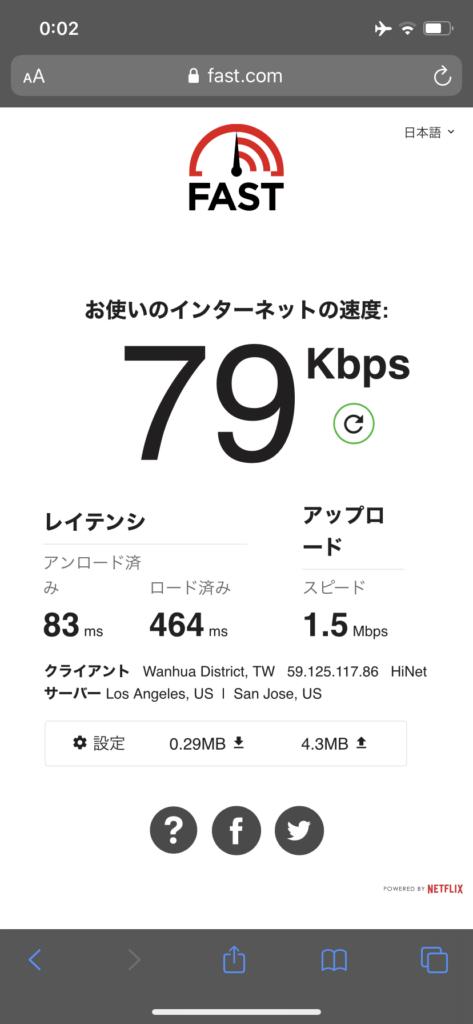 グリーンワールド新仕界でのWi-Fiのスピードテスト