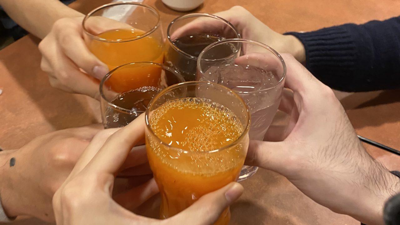 プチオフで乾杯